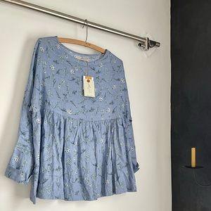ICHI ANTIQUITES 100% natural linen blue floral top